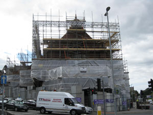 Scaffolding around the former Mike's Carpets building was taken down last month. Photograph: Leeds City Council