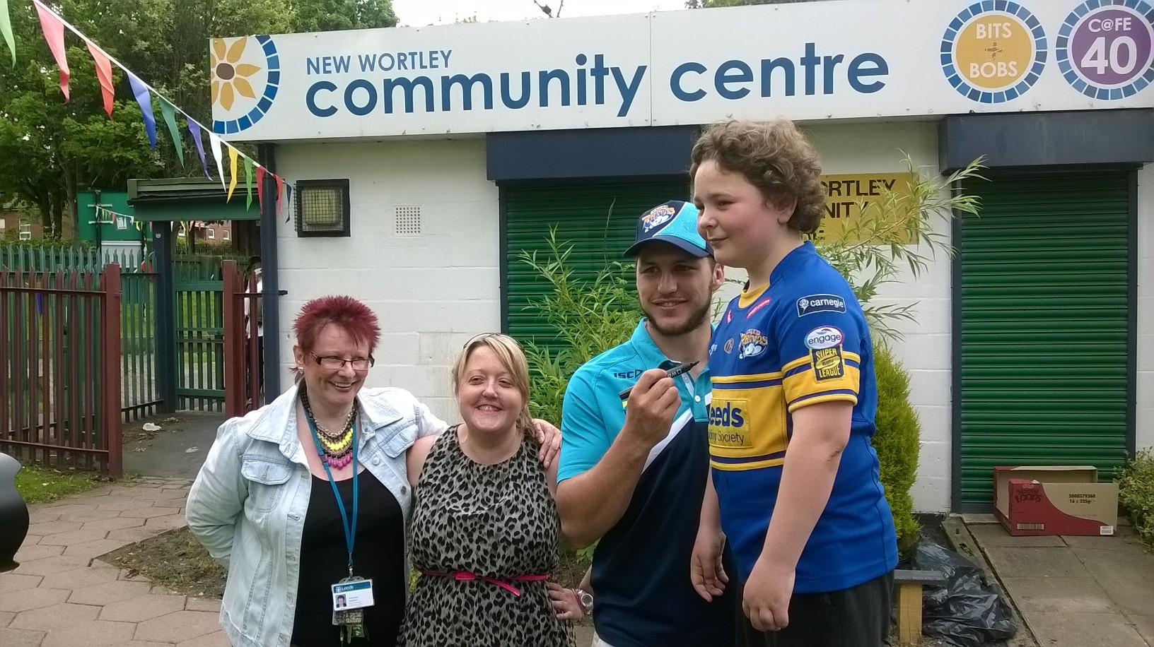 Leeds Rhinos' Tom Briscoe at New Wortley Community Centre