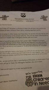 whingate primary school letter