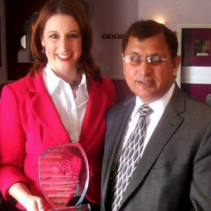 Azram Chaudhry with Leeds West MP Rachel Reeves