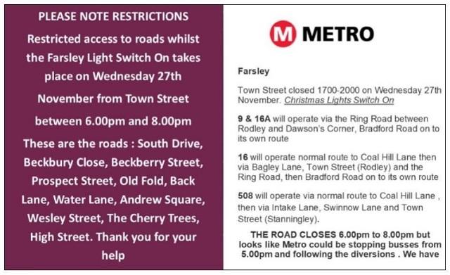 farsley bus christmas lights switch on
