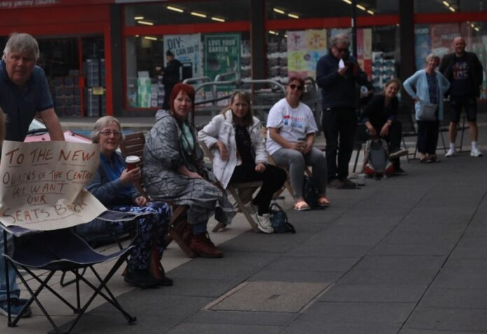 bramley shopping centre seats protest