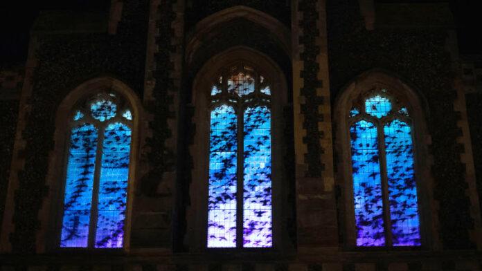 kirkstall abbey light night